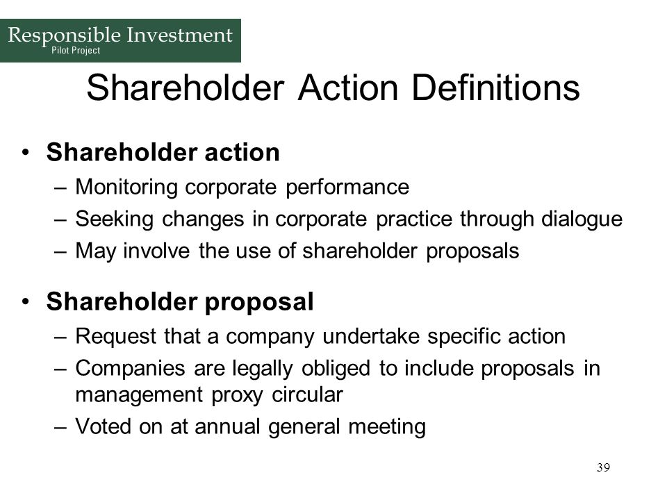Shareholder Action Definitions