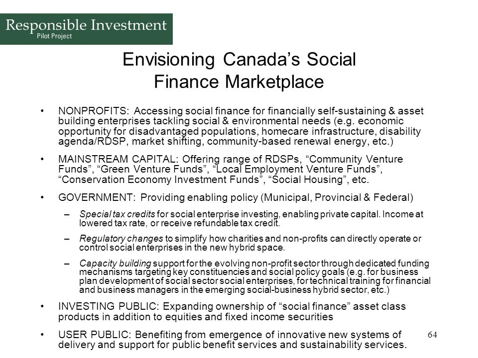 Envisioning Canada's Social Finance Marketplace