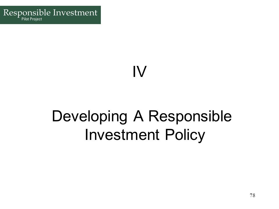 Developing A Responsible Investment Policy
