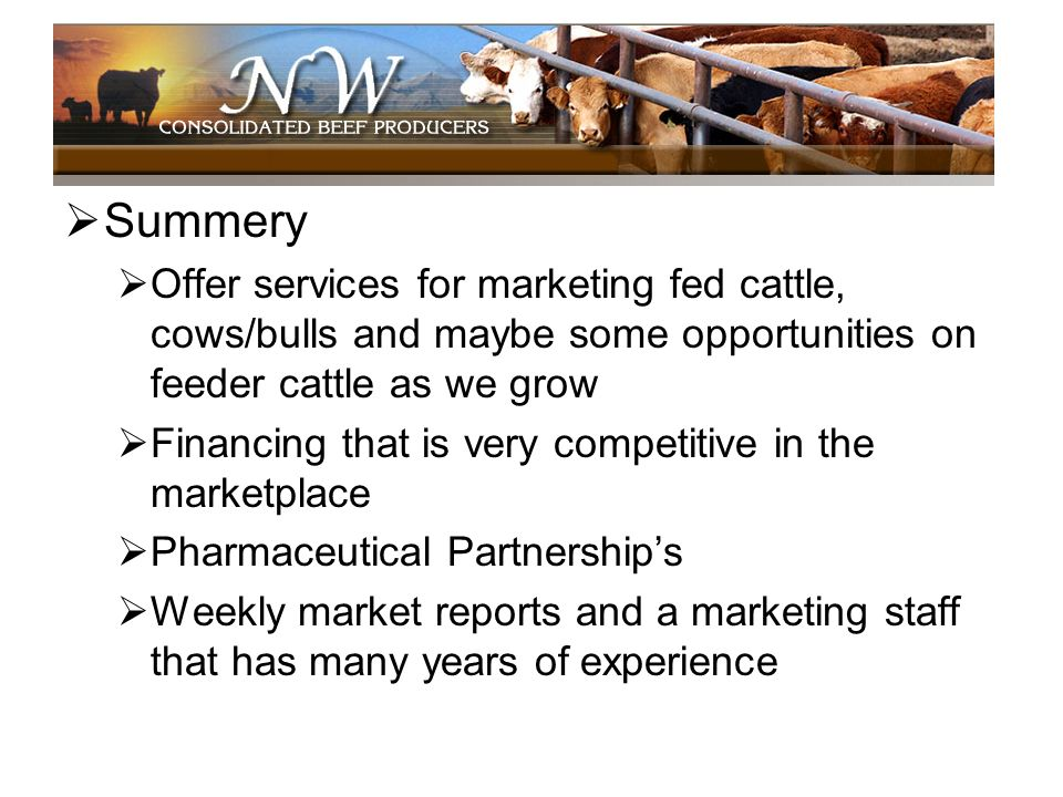 Summery Offer services for marketing fed cattle, cows/bulls and maybe some opportunities on feeder cattle as we grow.