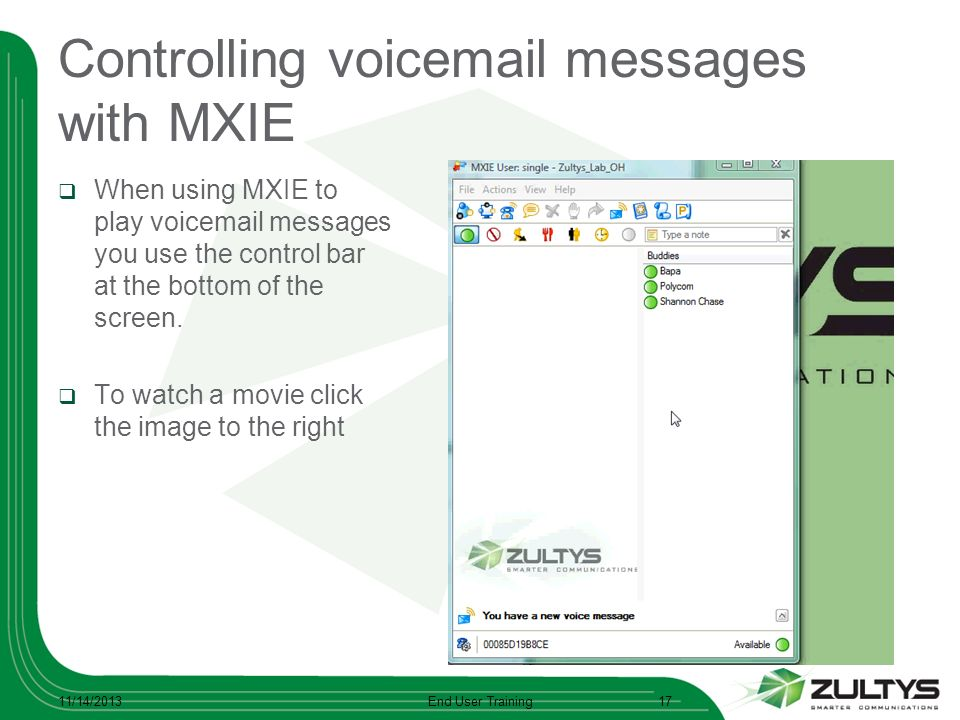Controlling voicemail messages with MXIE