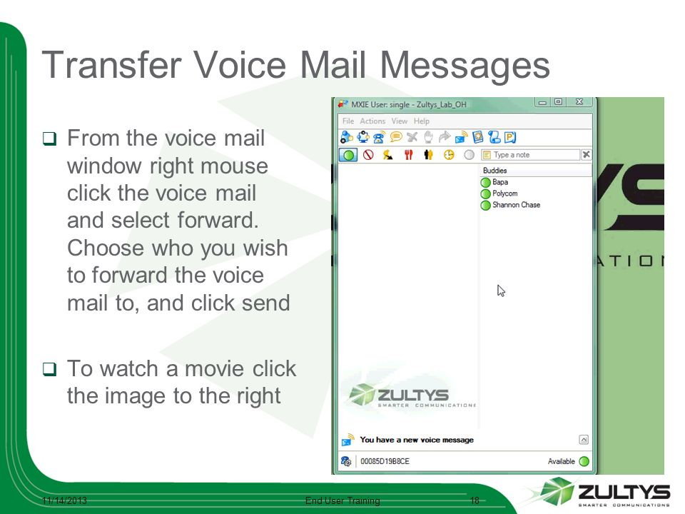 Transfer Voice Mail Messages