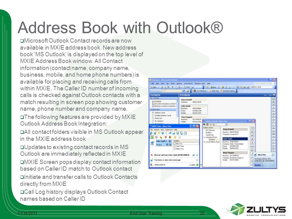 Address Book with Outlook®