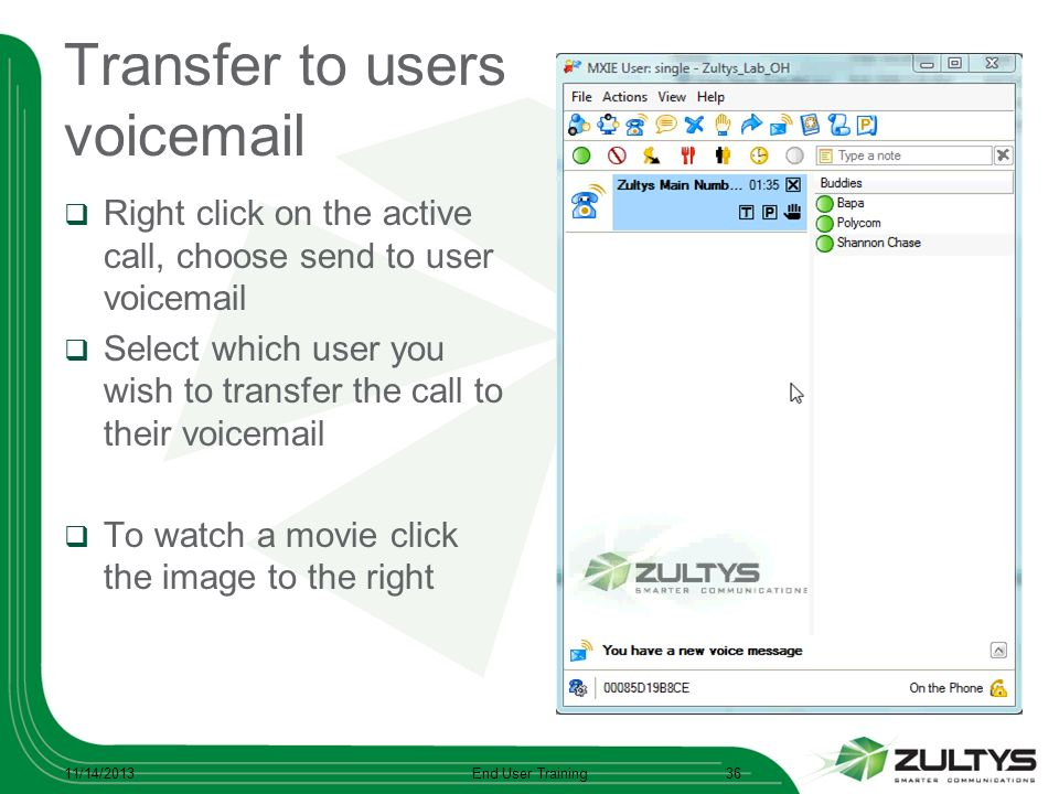 Transfer to users voic
