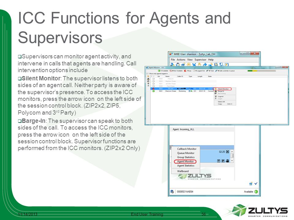 ICC Functions for Agents and Supervisors