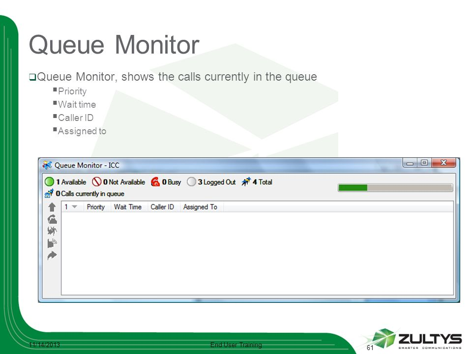 Queue Monitor Queue Monitor, shows the calls currently in the queue