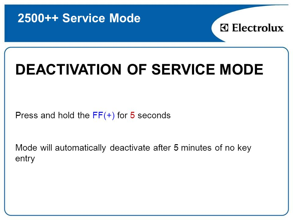 DEACTIVATION OF SERVICE MODE
