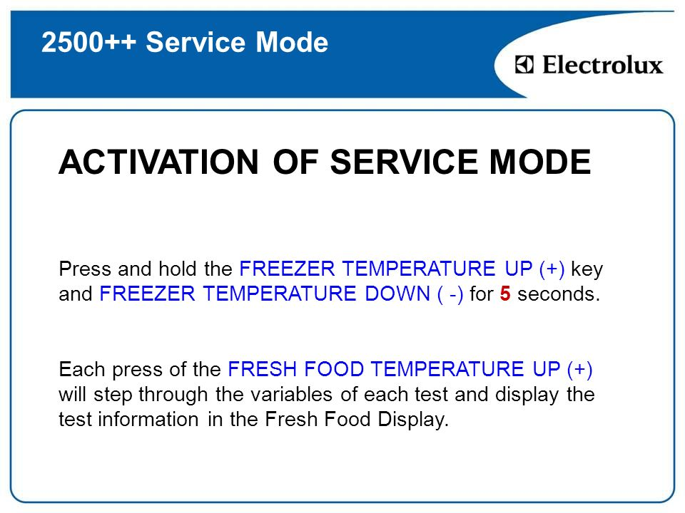 ACTIVATION OF SERVICE MODE