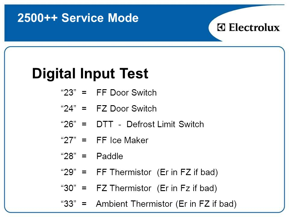 Digital Input Test Service Mode 23 = FF Door Switch
