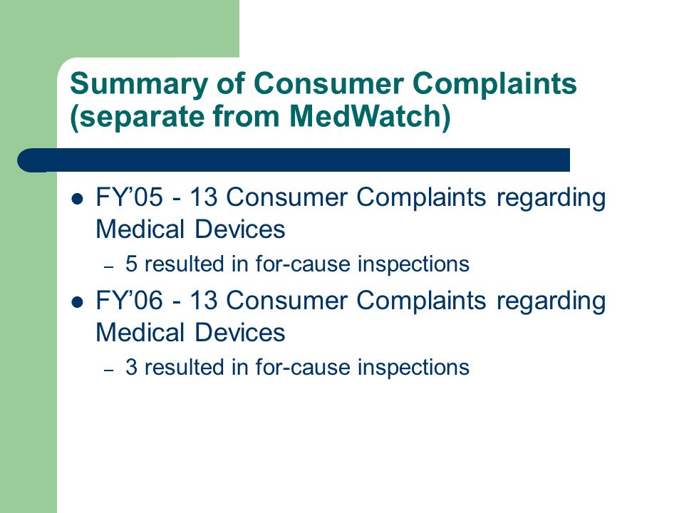 Summary of Consumer Complaints (separate from MedWatch)