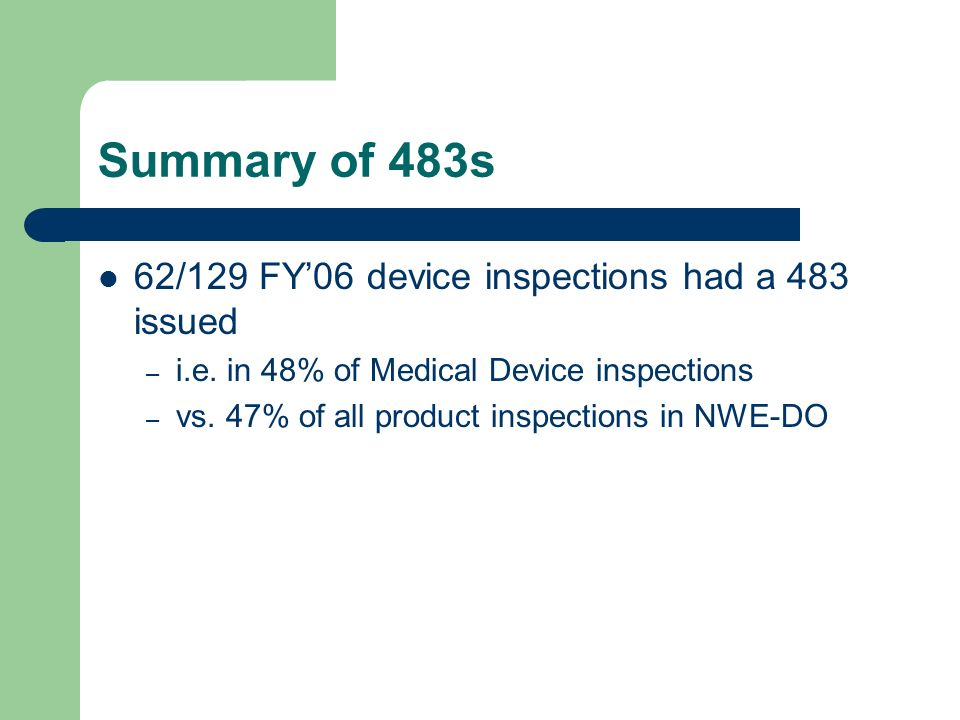 Summary of 483s 62/129 FY'06 device inspections had a 483 issued