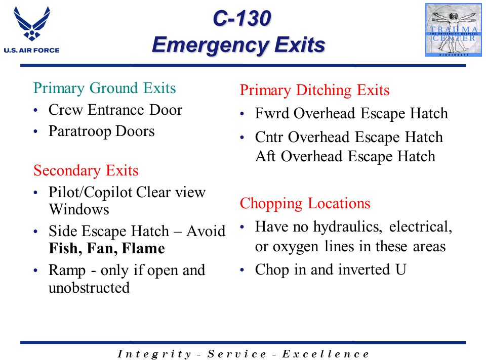 C-130 Emergency Exits Primary Ground Exits Crew Entrance Door