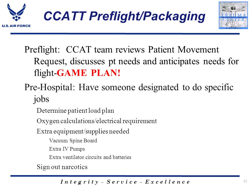 CCATT Preflight/Packaging
