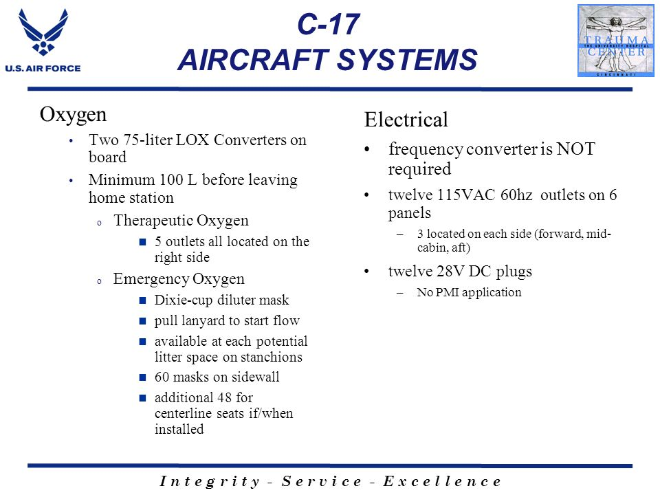 C-17 AIRCRAFT SYSTEMS Oxygen Electrical