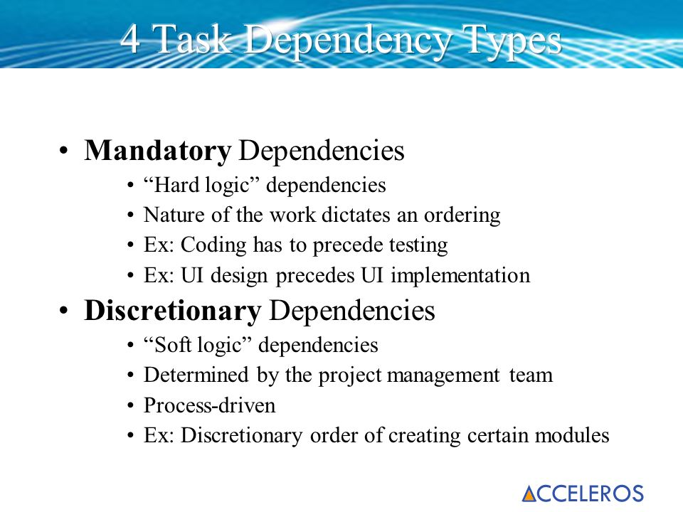4 Task Dependency Types Mandatory Dependencies