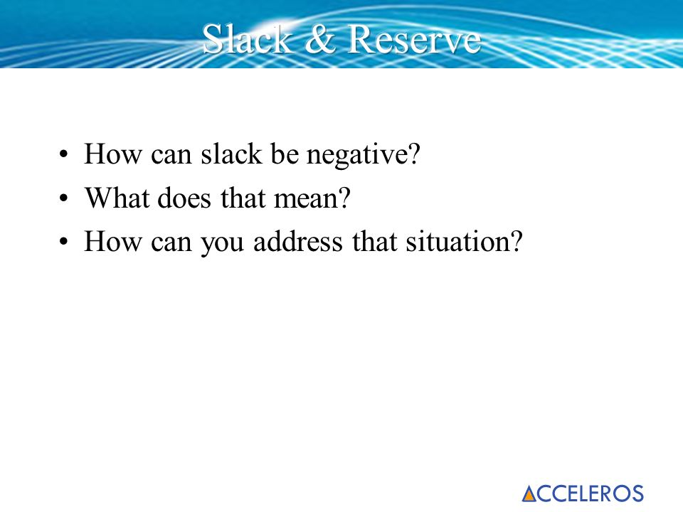 Slack & Reserve How can slack be negative What does that mean