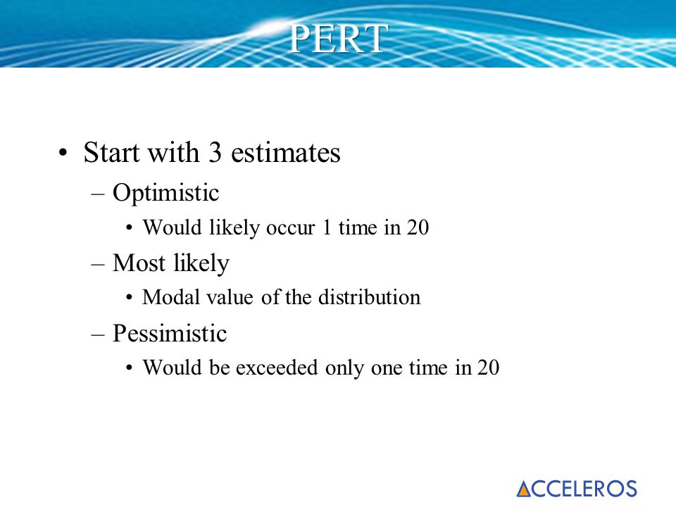 PERT Start with 3 estimates Optimistic Most likely Pessimistic