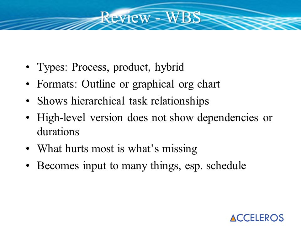 Review - WBS Types: Process, product, hybrid