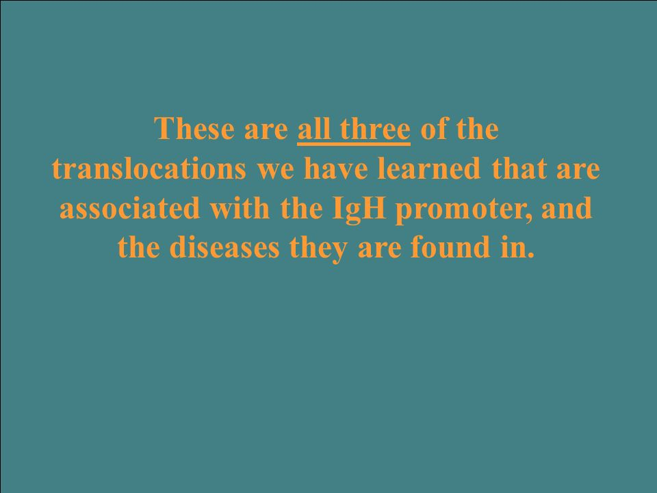 These are all three of the translocations we have learned that are associated with the IgH promoter, and the diseases they are found in.