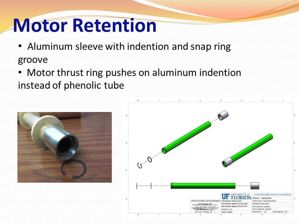 Motor Retention Aluminum sleeve with indention and snap ring groove
