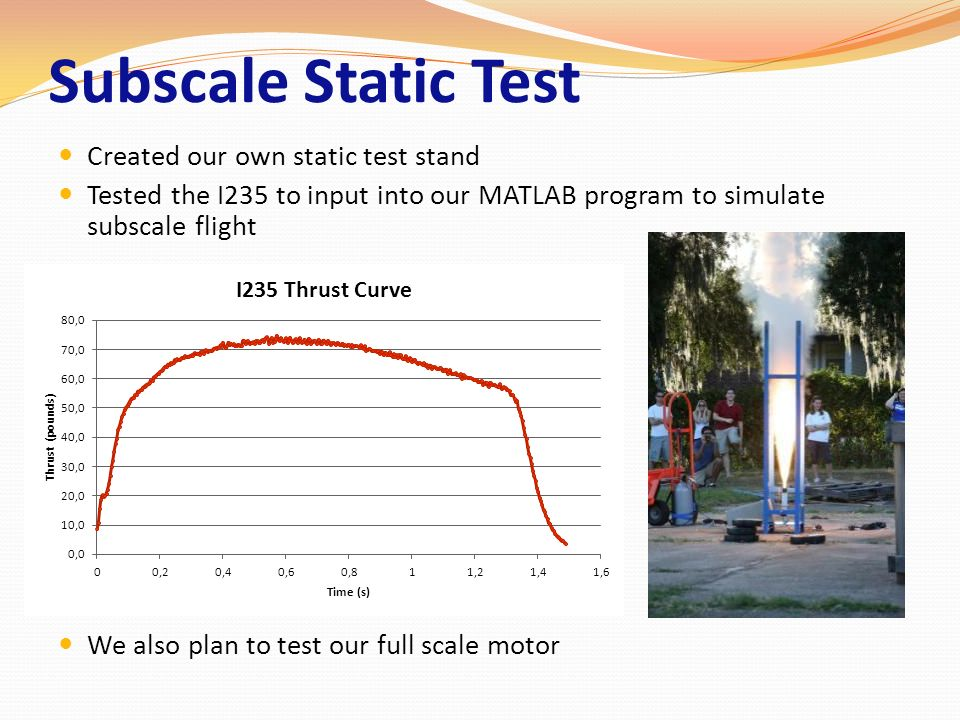 Subscale Static Test Created our own static test stand