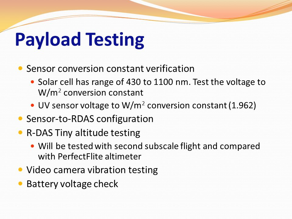 Payload Testing Sensor conversion constant verification