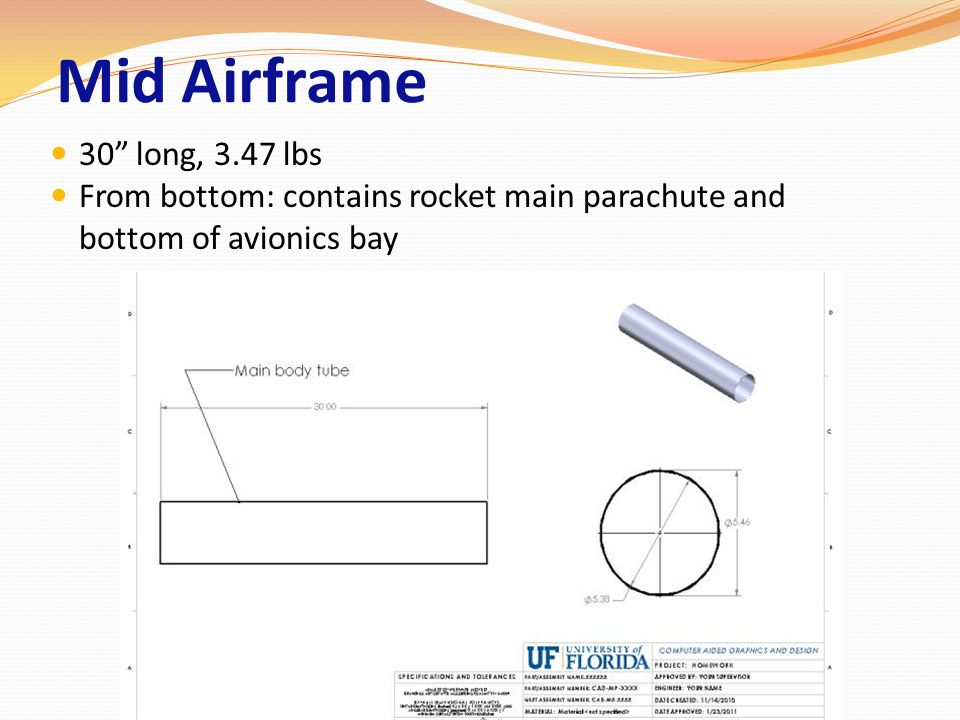 Mid Airframe 30 long, 3.47 lbs.