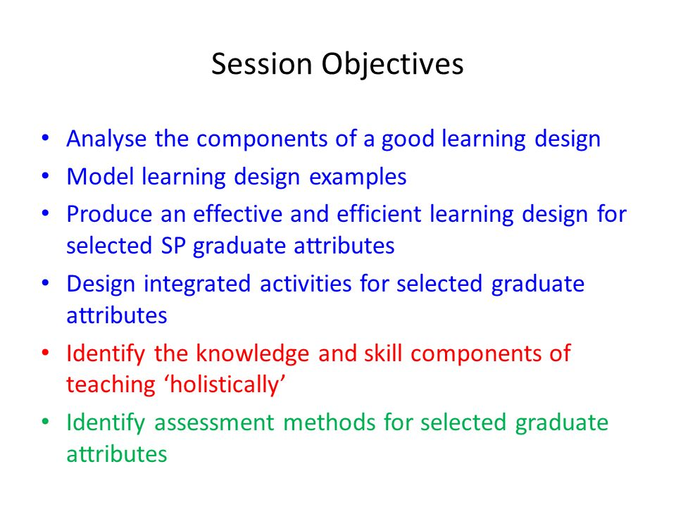 Session Objectives Analyse the components of a good learning design
