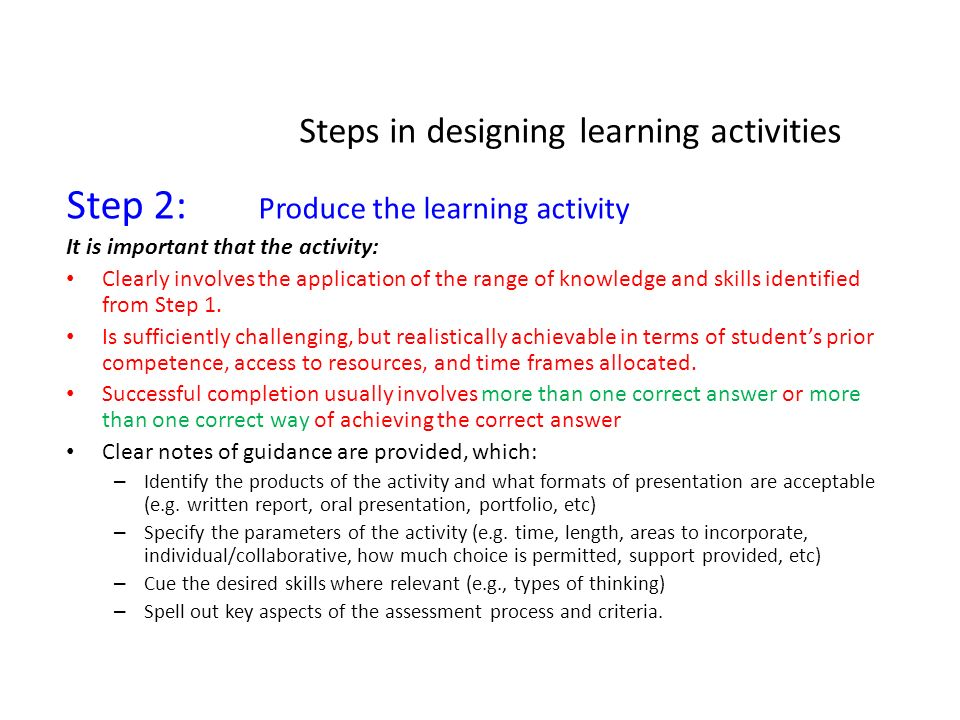 Steps in designing learning activities