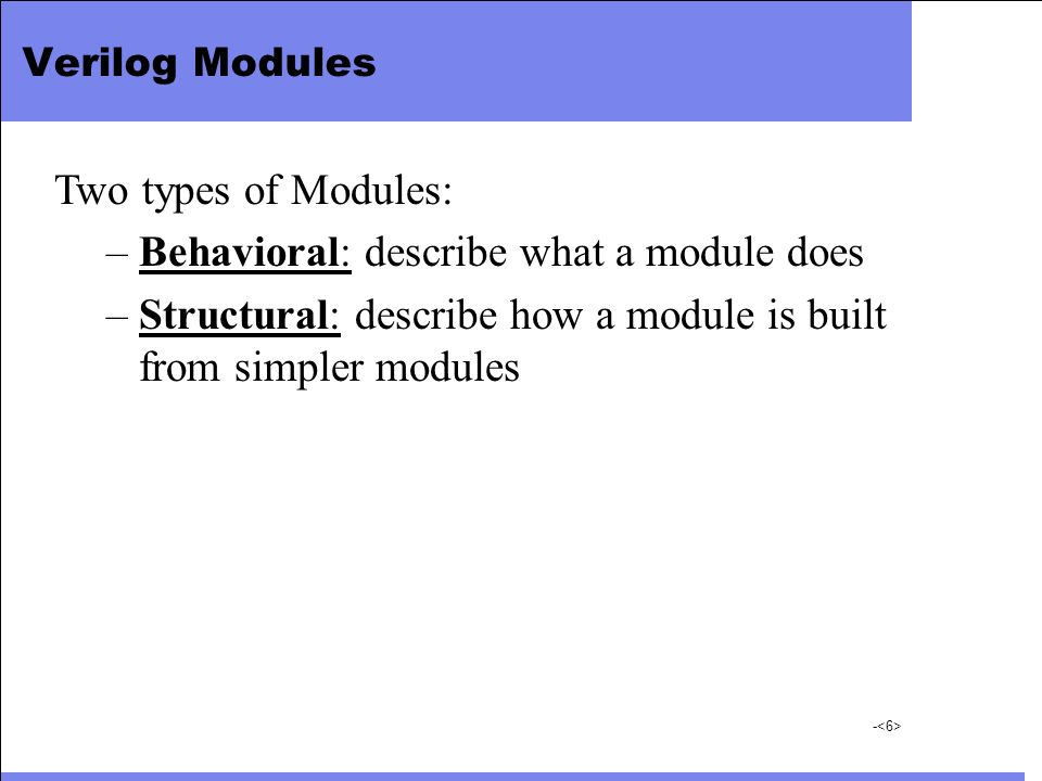 Behavioral: describe what a module does