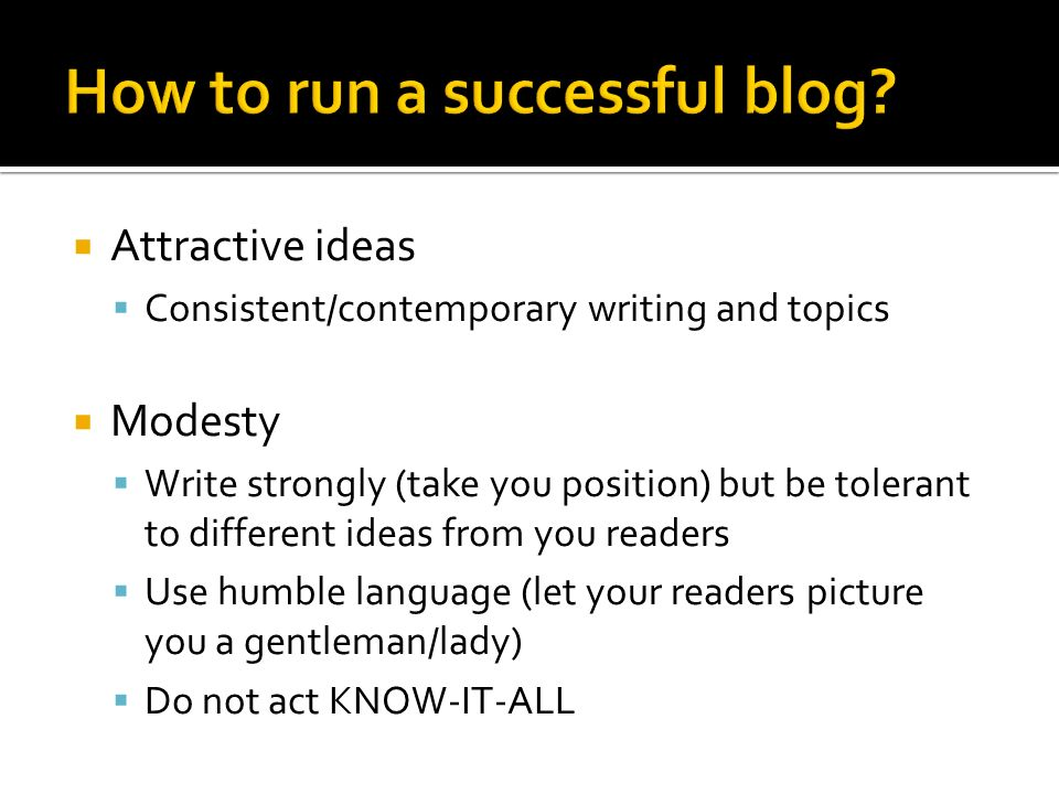 How to run a successful blog