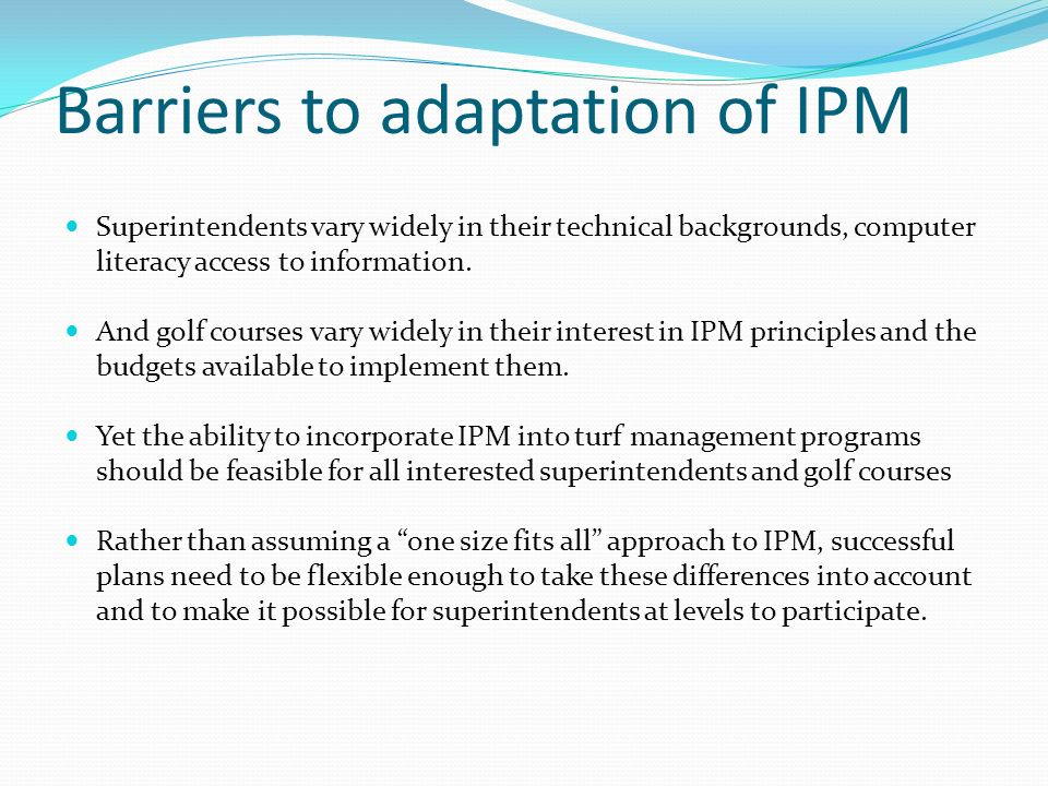 Barriers to adaptation of IPM