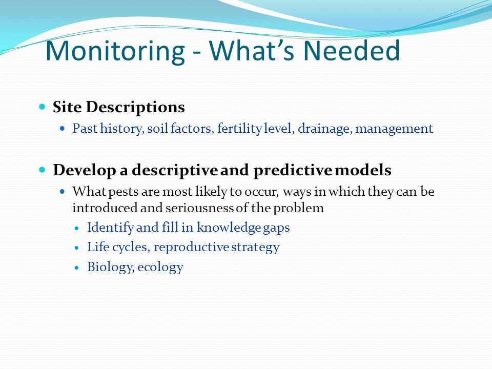 Monitoring - What's Needed