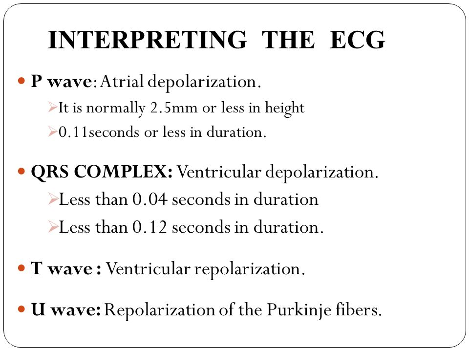 INTERPRETING THE ECG P wave: Atrial depolarization.