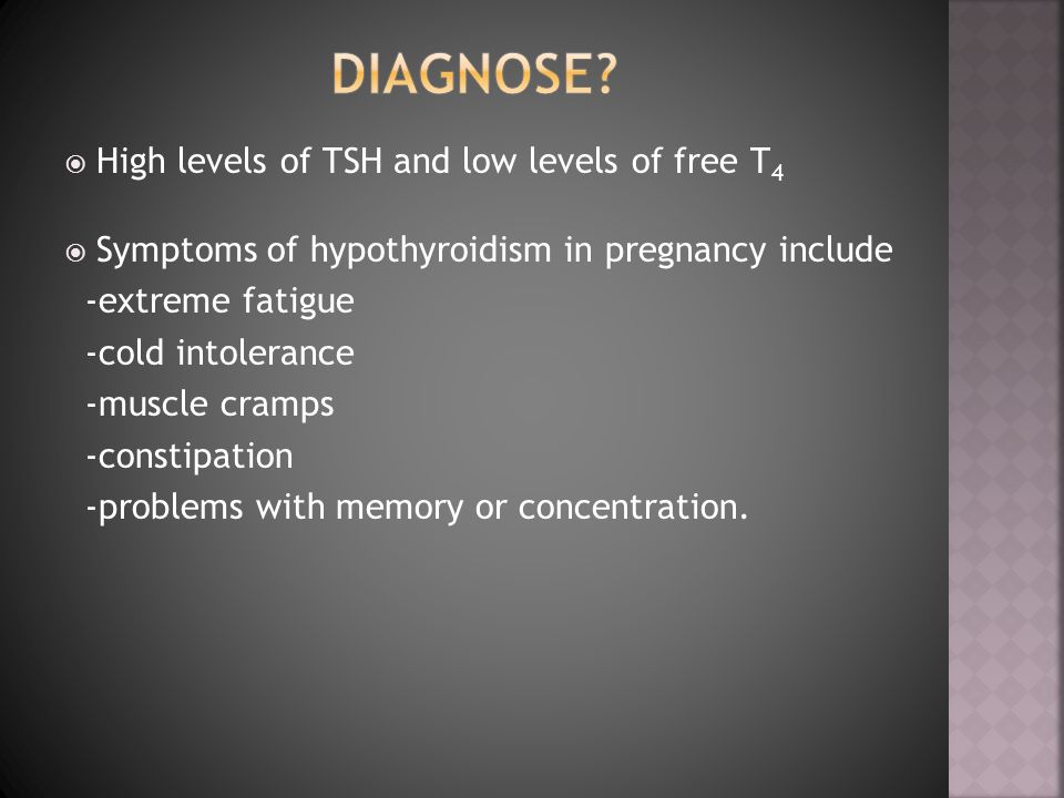 Diagnose High levels of TSH and low levels of free T4
