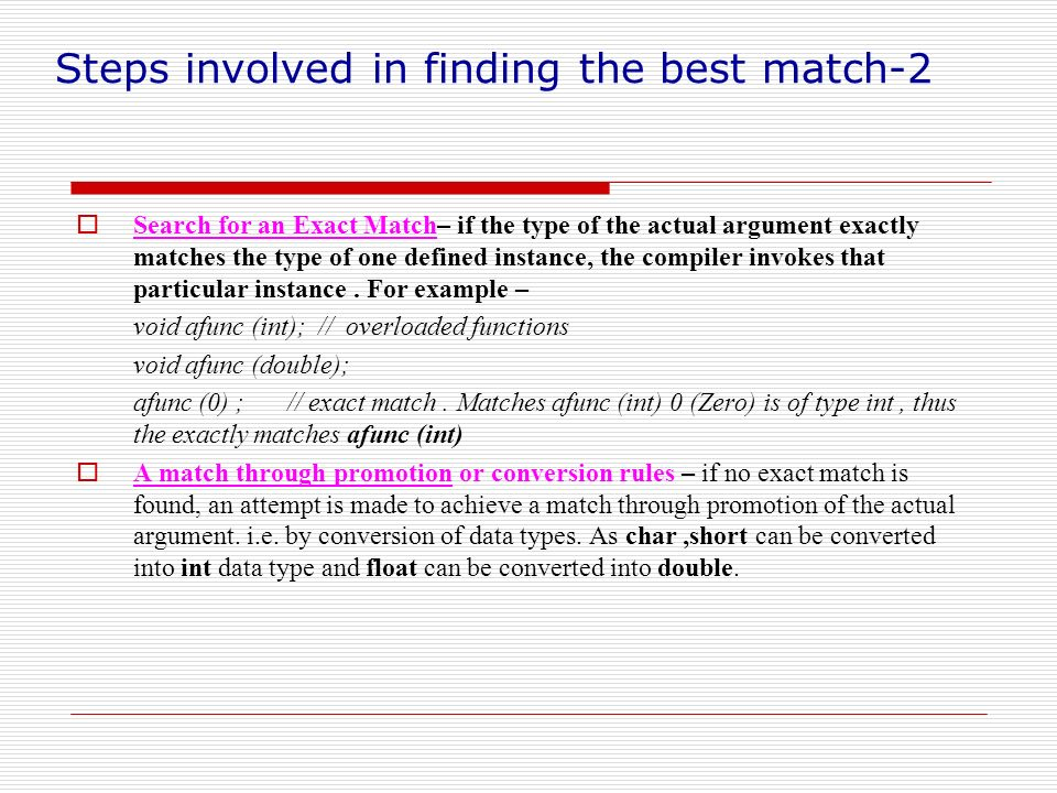 Steps involved in finding the best match-2