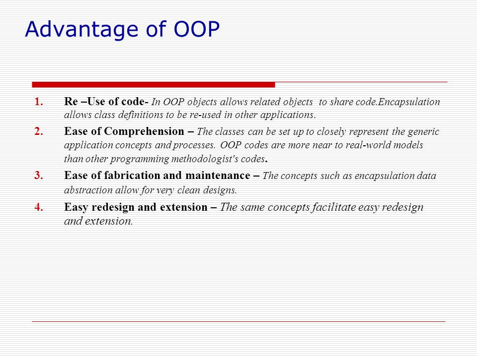 Advantage of OOP