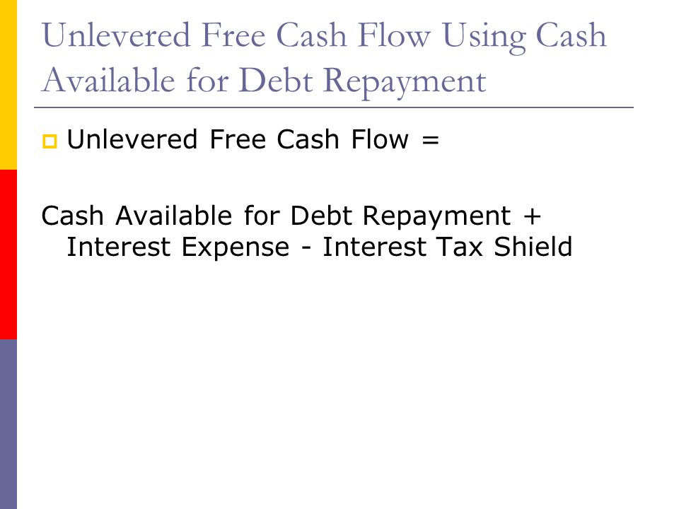 Unlevered Free Cash Flow Using Cash Available for Debt Repayment