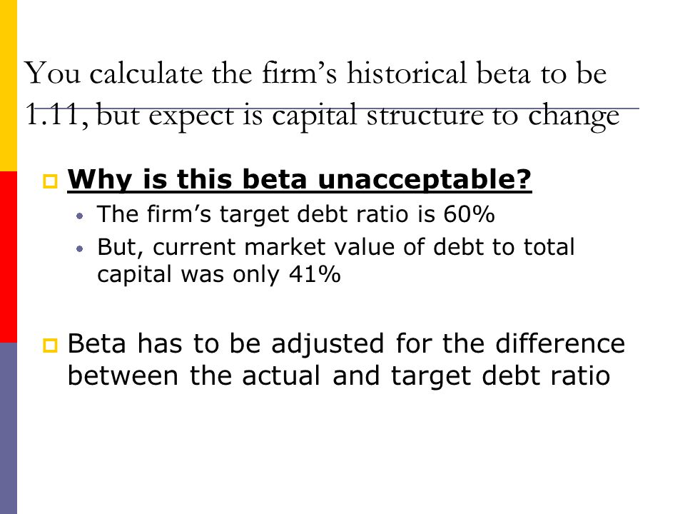You calculate the firm's historical beta to be 1
