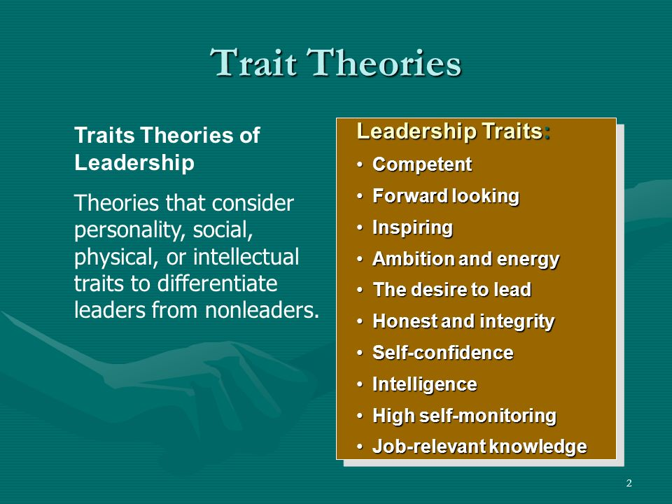 advantages and disadvantages of trait leadership theory Trait theory of leadership the trait model of leadership is based on the characteristics of many leaders - both successful and unsuccessful - and is used to predict leadership effectiveness the resulting lists of traits are then compared to those of potential leaders to assess their likelihood of success or failure.