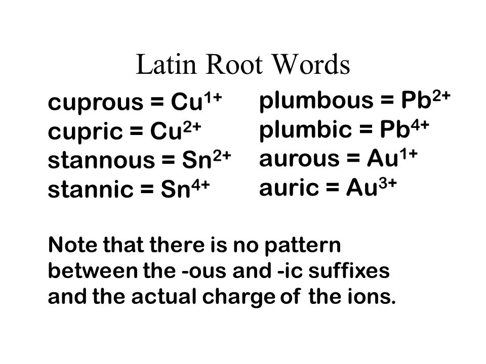 Latin Root Words plumbous = Pb2+ cuprous = Cu1+ plumbic = Pb4+
