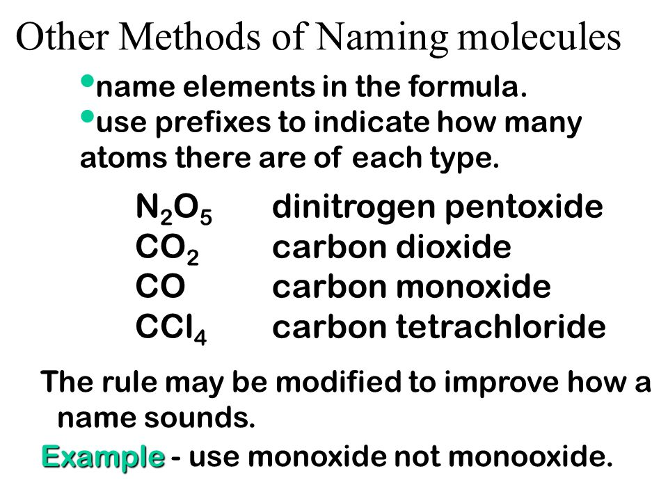 Other Methods of Naming molecules