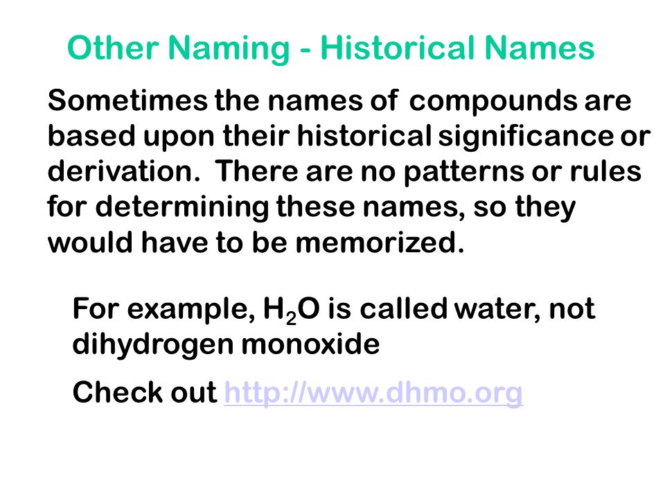 Other Naming - Historical Names
