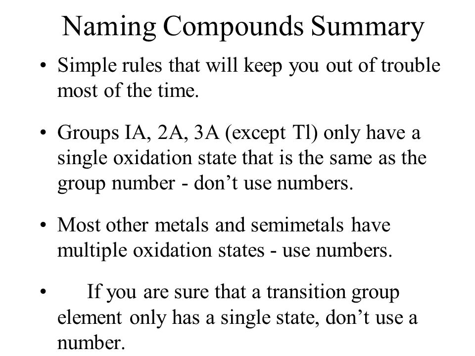 Naming Compounds Summary