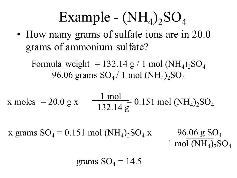 Formula weight = g / 1 mol (NH4)2SO4