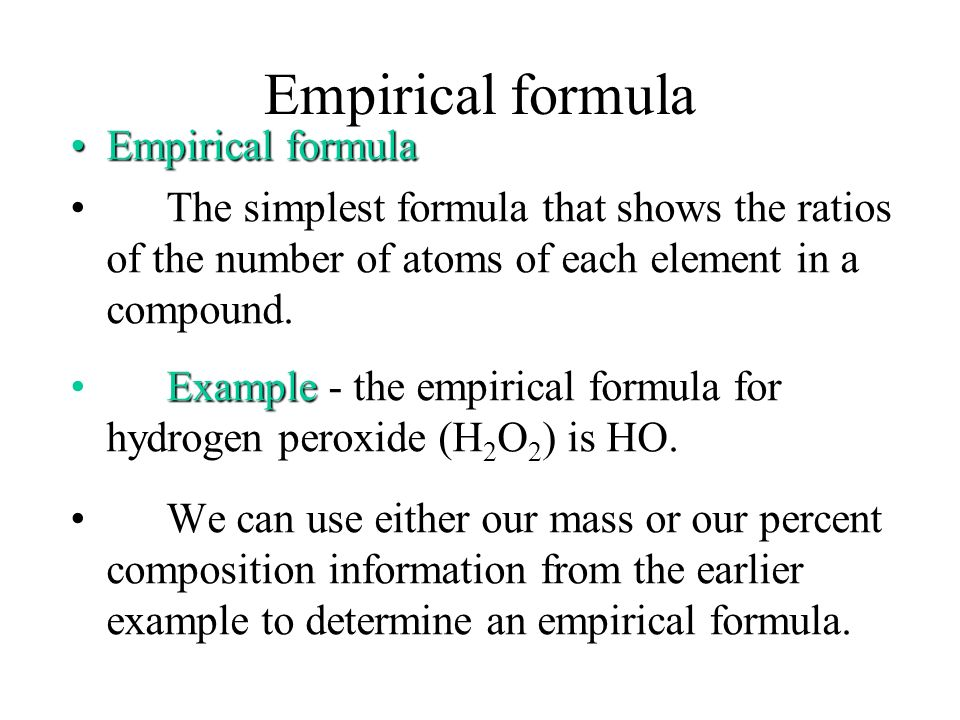 Empirical formula Empirical formula