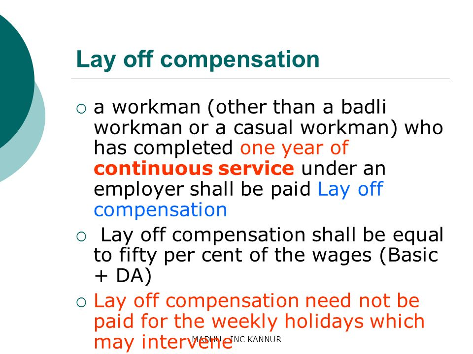 Lay off compensation