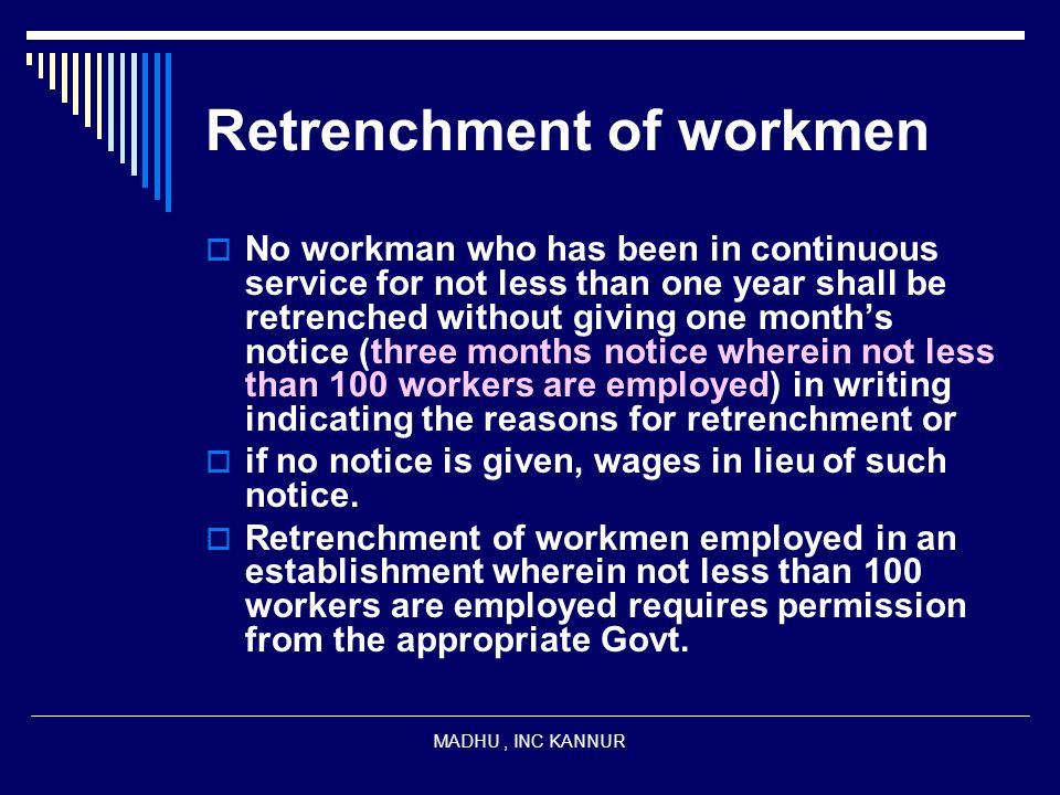 Retrenchment of workmen