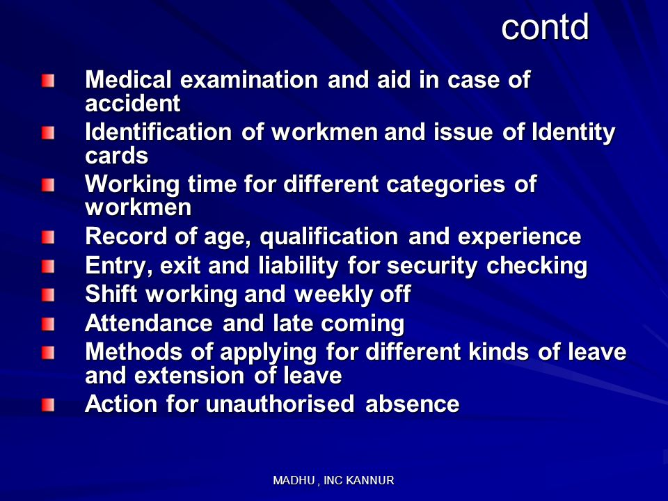 contd Medical examination and aid in case of accident
