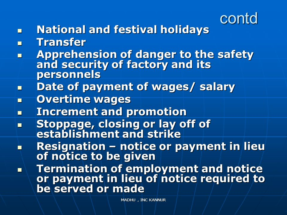 contd National and festival holidays Transfer